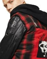 DIESEL L-NORMAN Leather & Tartan Cotton Trim Hooded Jacket LARGE Brand New + Tag
